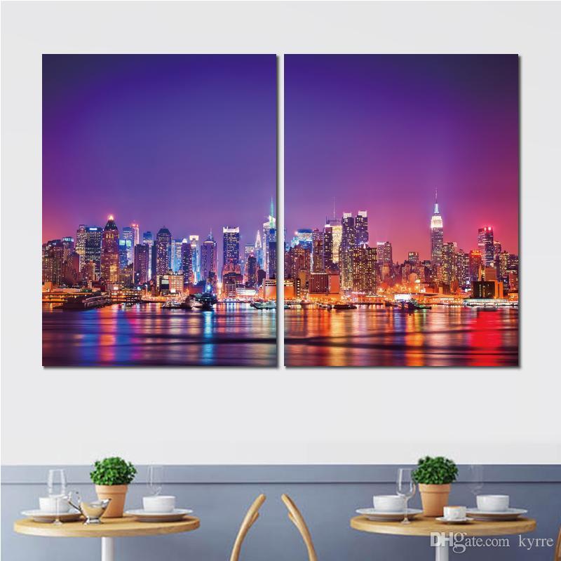 2 ensembles de voiture affiche usa ville new york manhattan hudson toile imprimée peinture peintures murales pour le salon décor