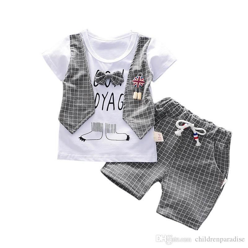 53c7bbd842 2019 Toddler Baby Boys Plaid Print Short Sleeve T Shirt Tops+Short Denim  Pants Kids Casual Outfits Children S Clothes Cotton Sets From  Childrenparadise