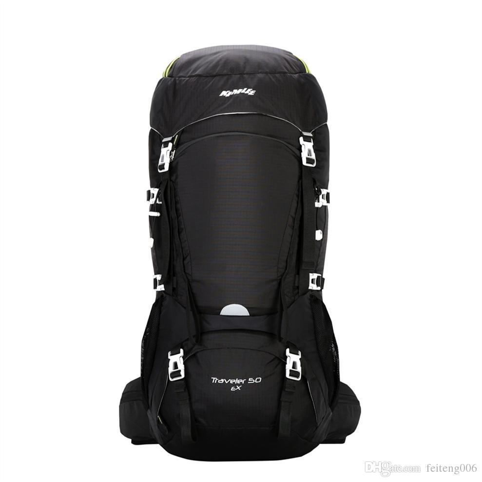 e1a416246 Compre Kimlee 50 L Poliéster À Prova D  Água Ao Ar Livre Sacos De  Acampamento Confortável Mochila Para Caminhadas Escalada Esqui Com Capa De  Chuva   767719 ...