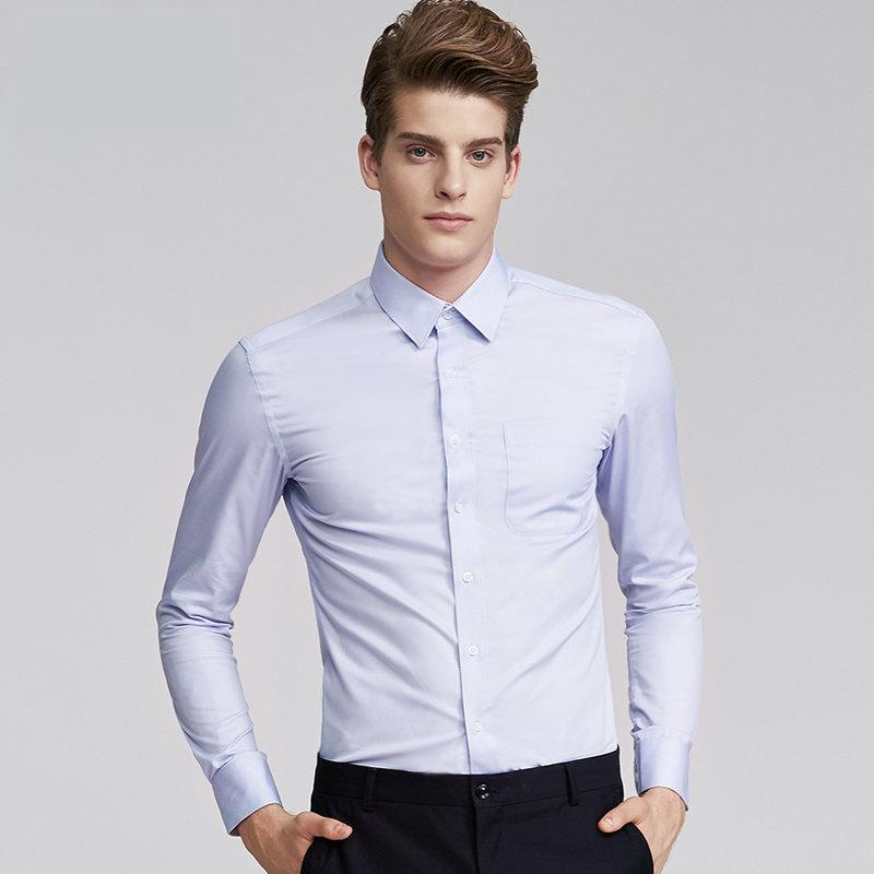 8b6ebef7e83f9f 2019 Good Quality 2019 Brand White Shirt Men'S Long Sleeve Slim Shirt  Business Suit Professional Work Solid Color Suit Shirt From Baisheng01, ...