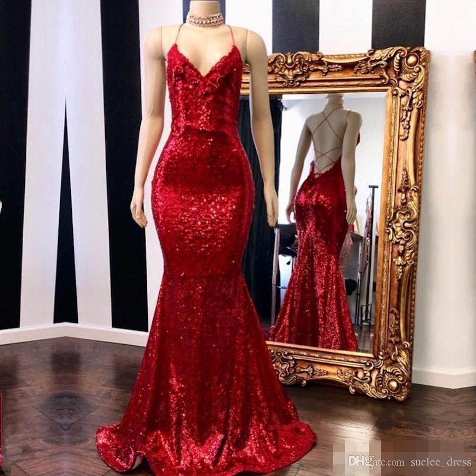4fd32e61 Bling Red Sequins Mermaid Evening Dresses Spaghetti Straps Sexy Backless  2019 Custom Made Plus Size Long Prom Cocktail Party Gowns Dresses Long  Evening ...