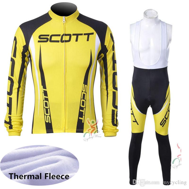 Hot Sale Pro team Scott cycling jersey set mens bicycle maillot ropa Ciclismo Winter Thermal Fleece long sleeve MTB bike clothing Y040806