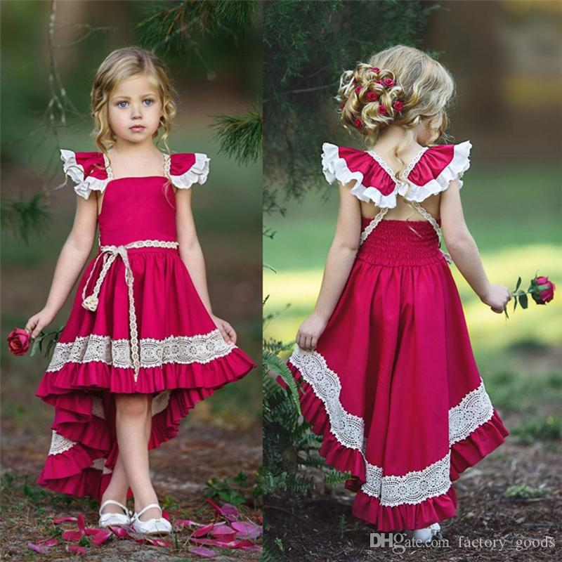 3ad012bf1b Baby Girls Dresses Lace Suspenders Princess Dresses Red Bow Backless ...