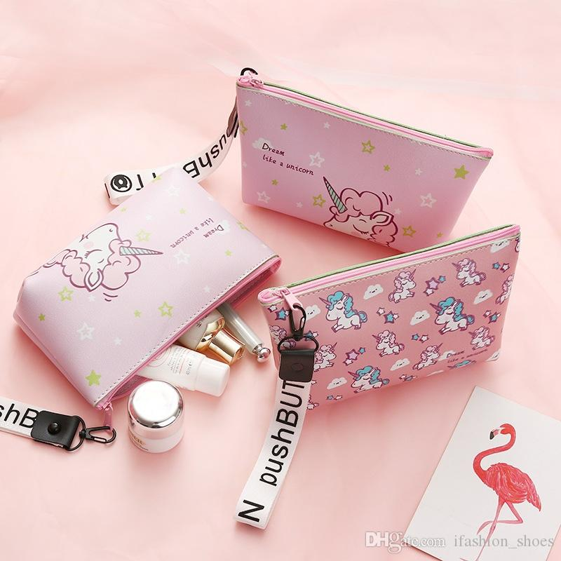 Fashion Unicorn Cosmetic Bag Travel Case Portable Waterproof Wash Makeup Bag Kids Pencil Case Student Pen Pouch Organizer Holder #138499