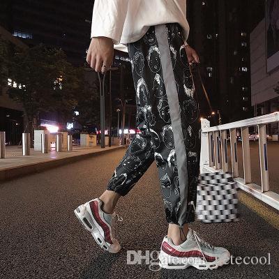 dfab2b1b3 2019 Harlan Pants Male 2018 New Summer Korean Version Men Trousers Korean  Version Style M 5XL Loose Casual Luminous Strip Pant From Netecool, ...