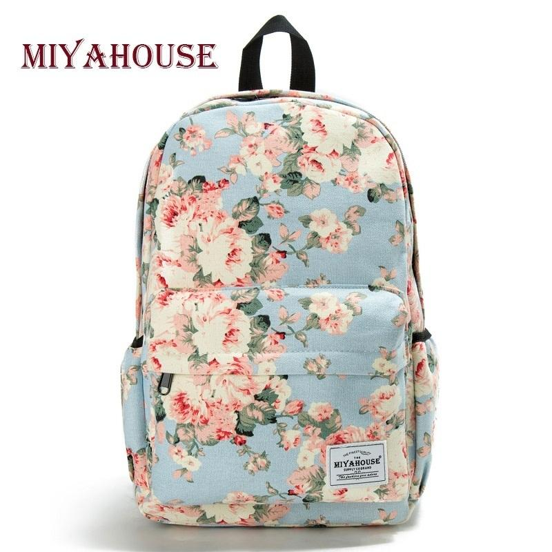 Miyahouse Fresh Style Women Backpacks Floral Print Bookbags Canvas Backpack School Bag For Girls Rucksack Female Travel Backpack Y19061004