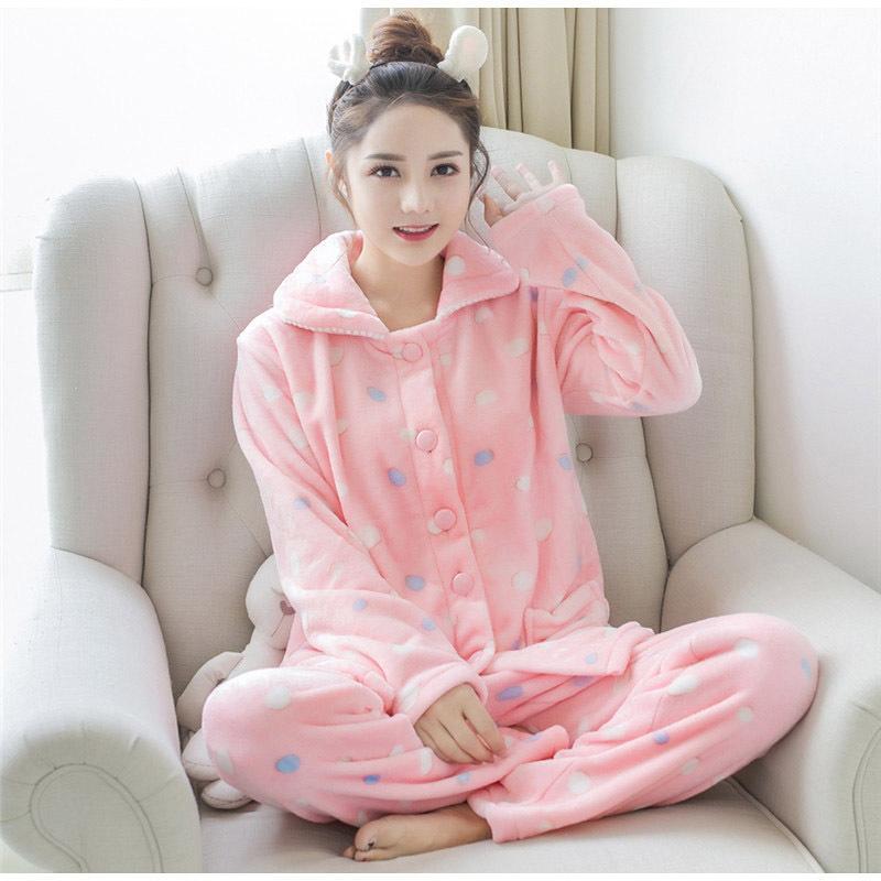 aba481b16 Pijama conjuntos de mujeres de franela de manga larga traje pantalón de  dibujos animados animal del o-cuello cálido coral terciopelo traje de las  ...