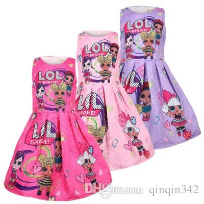 b6c953fc03055 2019 ins boutique hot selling kids designer girls dresses lol dolls printed  princess girls clothes 100-140
