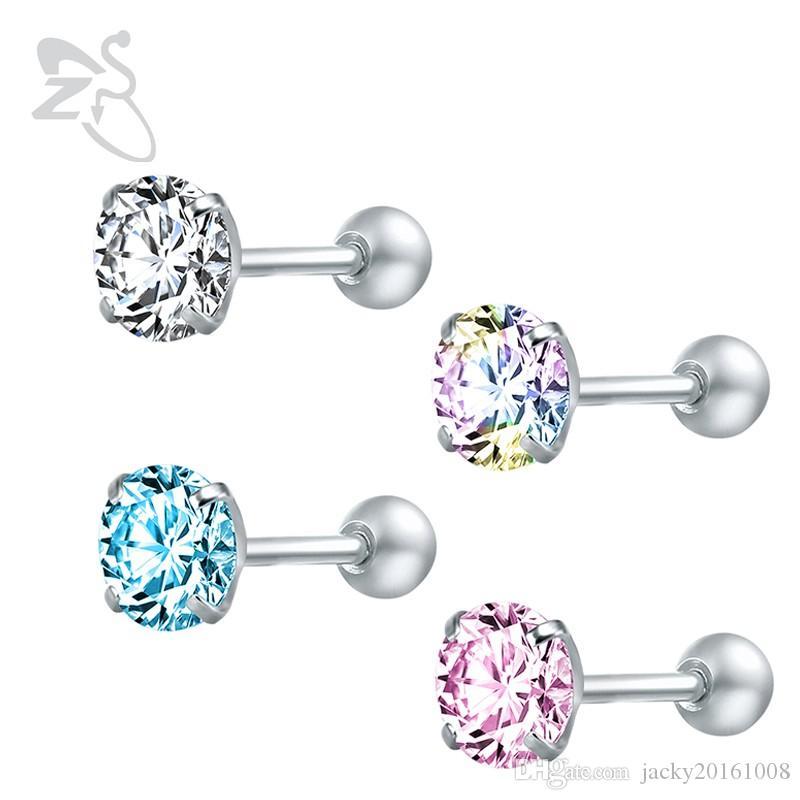 a9e0ea80beec Compre ZS Pendientes De Botón De Cristal Para Mujer Pendientes De ...