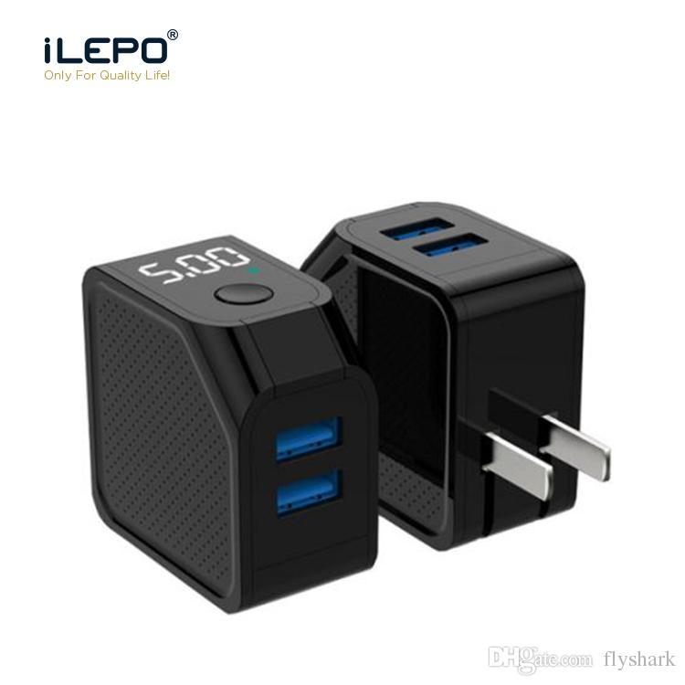 9ffc537886f Cargador Smartphone ILepo Apagado Automático Inteligente Pantalla LED  Digital Cargadores De Teléfonos 2.4A 5V Cargador USB Dual Con Pantalla LED  Cargador ...