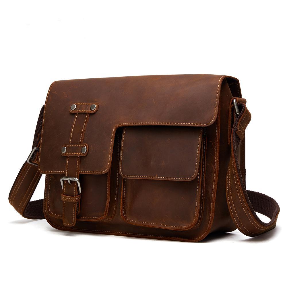 8301315d1f30 Fashion Designer Men Bag Vintage Men Leather Briefcase Genuine Cowhide Leather  CrossBody Handbag Messenger Bag Shoulder Black Leather Handbags Small  Purses ...