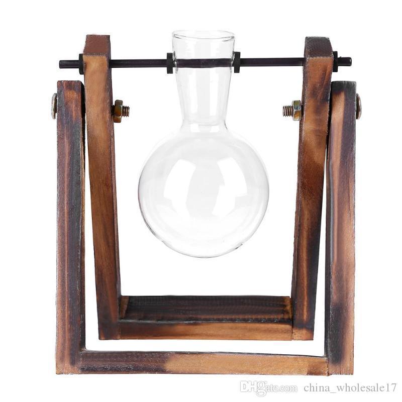 2019 Glass And Wood Vase Planter Terrarium Table Desktop Hydroponics