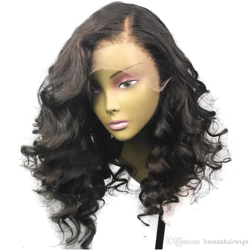 LIN MAN Lace Front Wig Human Hair Wigs with Baby Hair Glueless Short Wigs Loose Wave Peruvian Remy Hair Pre-Plucked Hairline