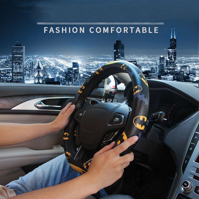 bf6330c2ee04 Cartoon Car Cover Leather Batman Superman Ironman Auto Steering Wheel Covers  Case Accessories Universal Size M Cartoon Car Steering Wheel Frog Steering  ...