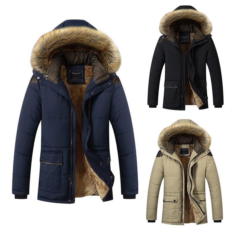 brand new 765dc 03ec0 Adeutable Mens Parka giacche invernali da uomo in pile caldo giacca  cappotto uomo pelliccia con cappuccio addensato soprabito top qualità veste  homme