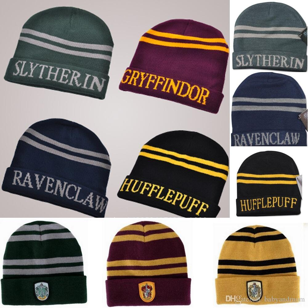 9370cd37969 2019 2 Styles Fashion Harry Potter Beanie Gryffindor Slytherin Skull Caps  Hufflepuff Ravenclaw Cosplay Costume Caps Striped School Winter Hats From  ...