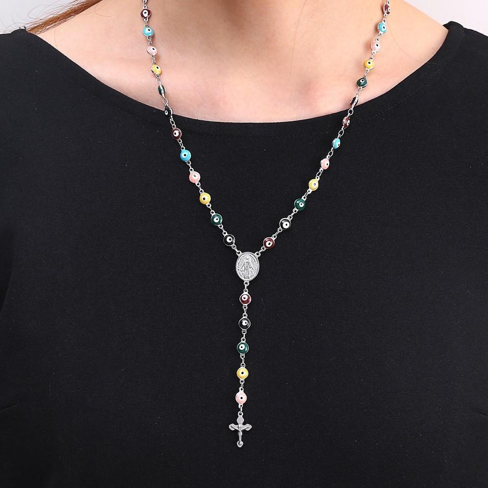RIR Jesucristo Cruz Malvado Grano Católico Religioso Rosario Crucifijos Largos Collar Acero Inoxidable Hombres Mujeres