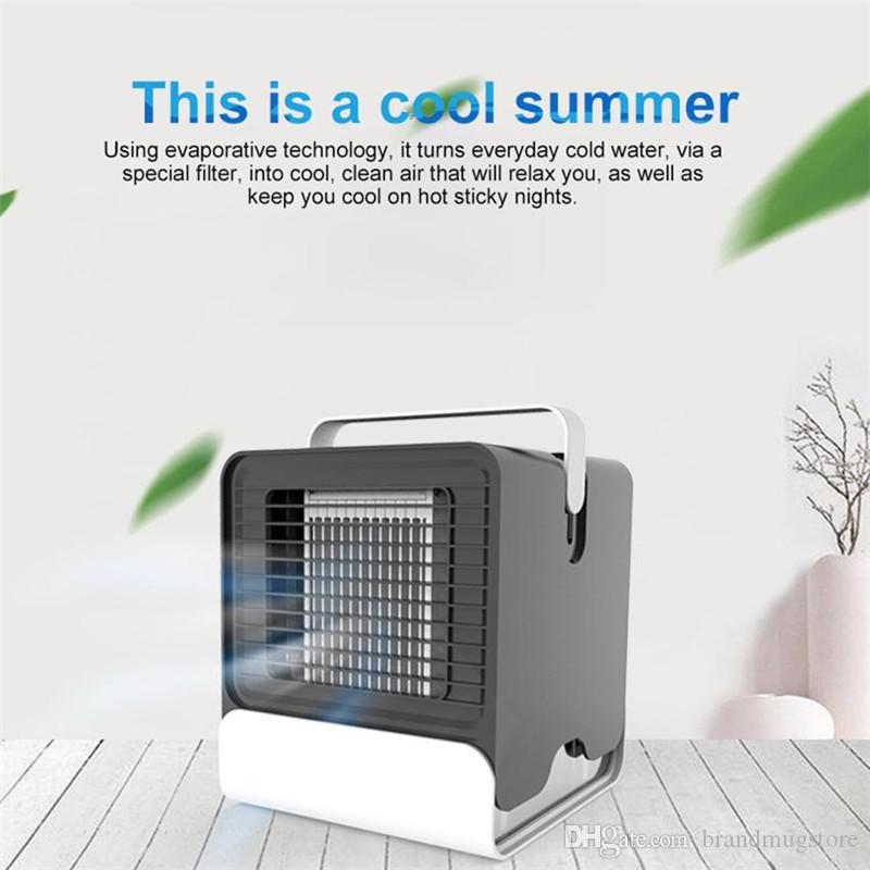 DHL FREE Mini Air Cooler Desktop Portable Fan USB Air Conditioner Negative Ion Humidifier Purifier with Night Light
