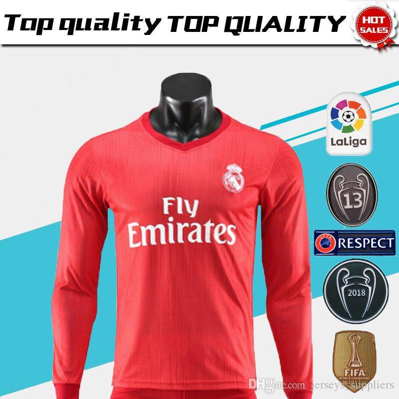 pretty nice 665a0 7e26c New Real Madrid home white Long Sleeve Soccer Jersey 17/18 Real Madrid away  black soccer shirt 2018 Ronaldo Football uniforms Isco sales