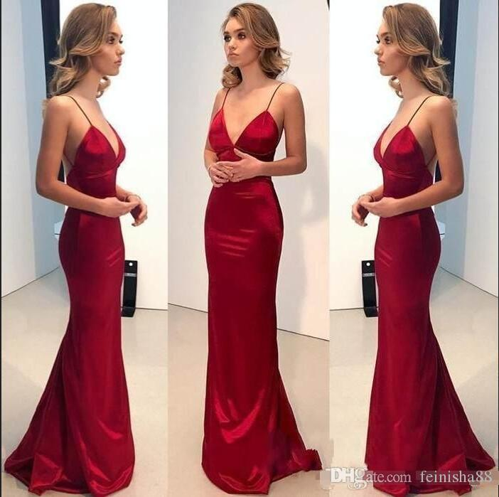 2020 Sexy Red V-neck Mermaid Long Evening Dresses Backless Spaghetti Strap Sweep Train Formal Evening Gowns Prom Dresses Robe de soiree
