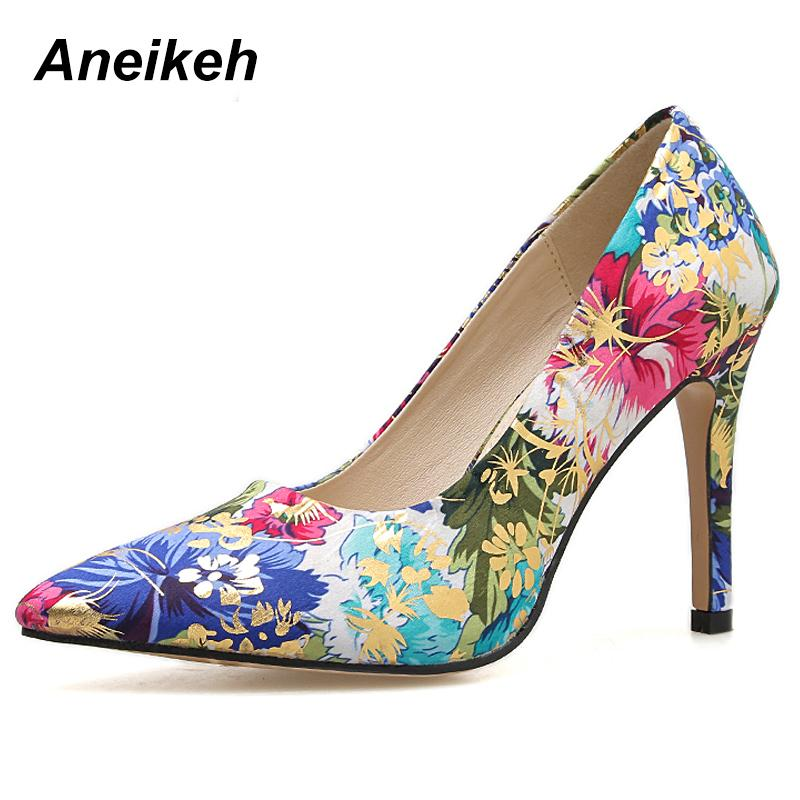 770834f0d807 Dress Aneikeh 2019 Pu Pumps New Spring Autumn Shallow Slip On Thin High Heel  Flower Pointed Toe Women Shoes Elegant Colorful Size35 40 Pink Shoes Munro  ...