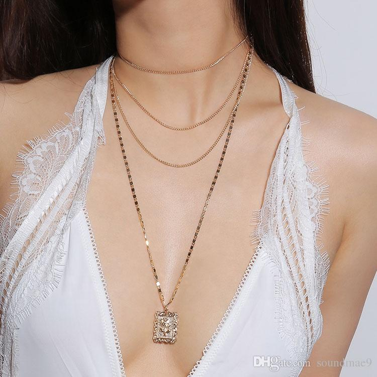 Women Simple Clavicle Necklace Pendant Gold Rose Flower Multilayer Chain Necklace New Designs Jewellery Pendant Choker Necklace