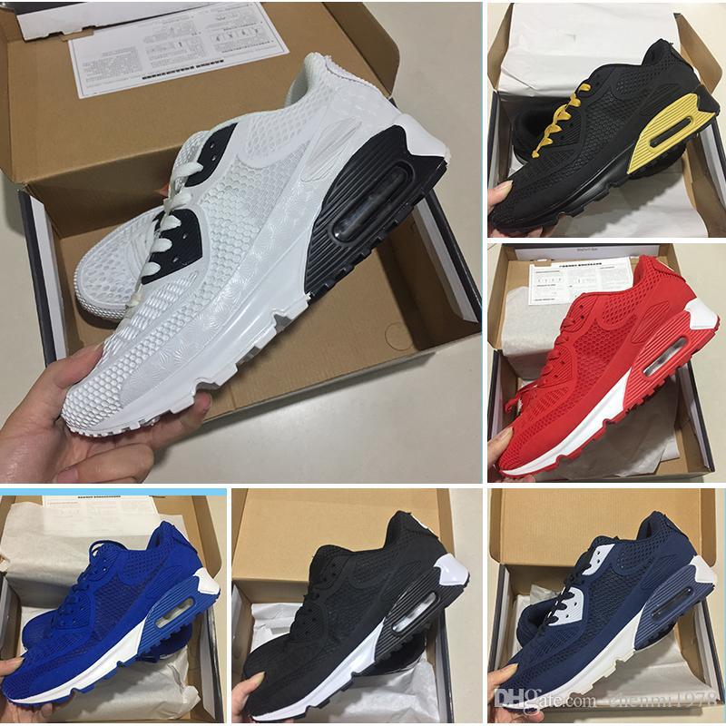 buy popular ca784 a53b6 Acheter Nike Air Max 90 95 97 98 270 2018 New Air Cushion 90 KPU Hommes  Femmes Chaussures De Sport Haute Qualité Classique Baskets Pas Cher 13  Couleurs ...
