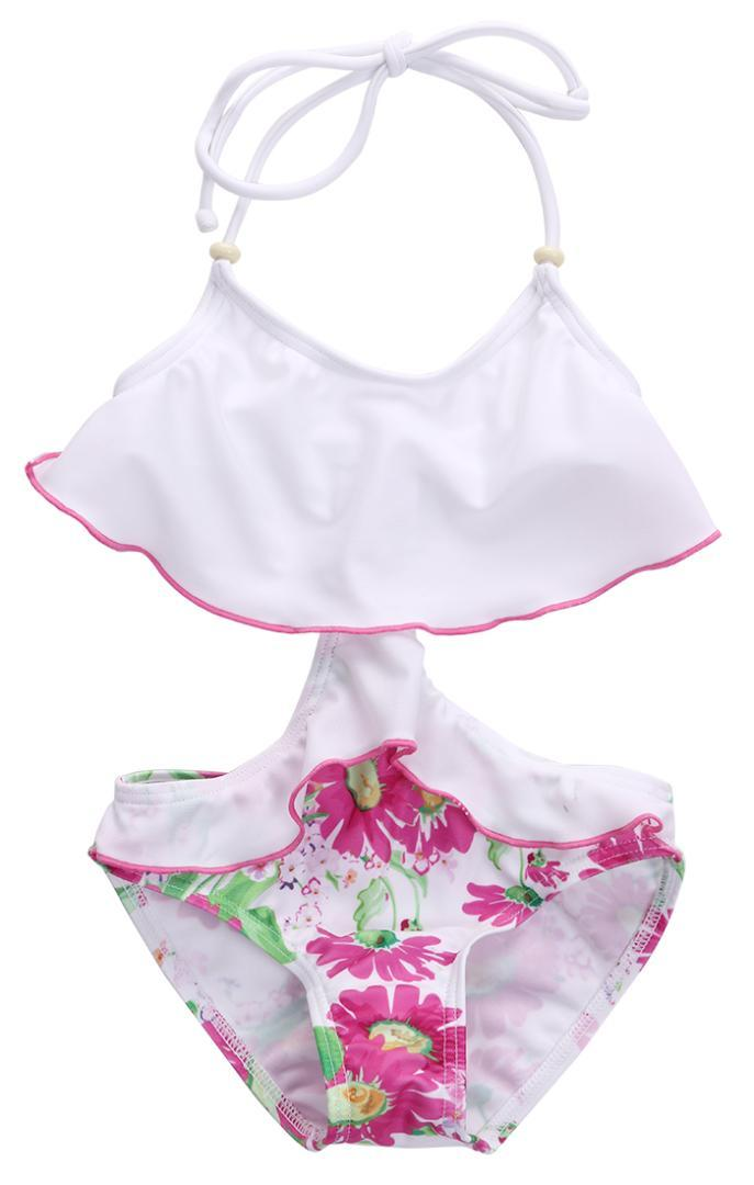 0a70334ed8029 2019 Kids Girls Bikini Swimwear Falbala Floral Children Swimming Bathing  Summer Baby Girl Swimsuit Clothes 2 7Y From Housecoat