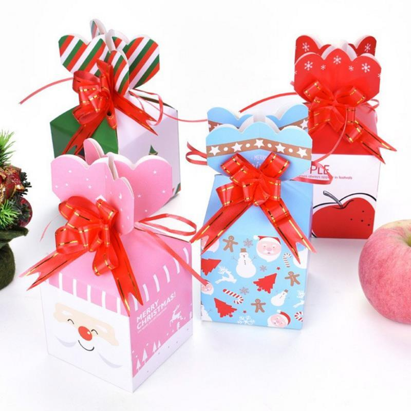 4pcs Lot New Merry Christmas Apple Box Creative Christmas Cookies Packaging Gift Box Cartoon Santa Elk Candy Party Decor