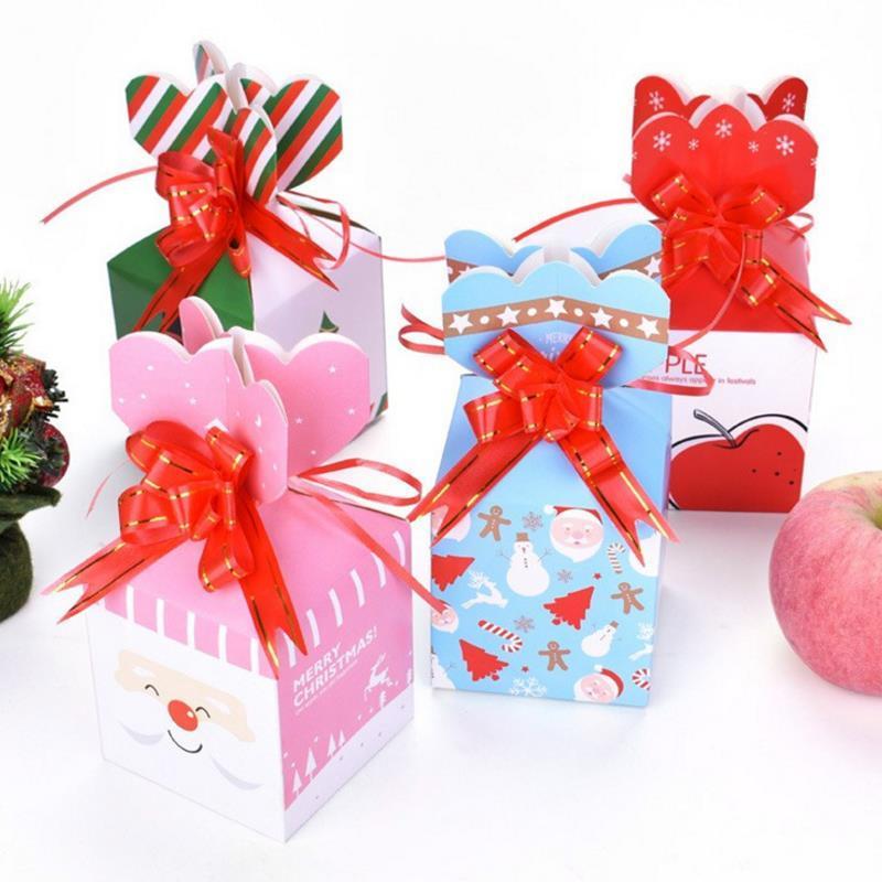 Joyeux Noel Apple.4pcs Lot Nouveau Joyeux Noel Apple Box Creative Noel Biscuits Emballage Cadeau Boite De Bande Dessinee Pere Noel Elk Bonbons Decor De Fete