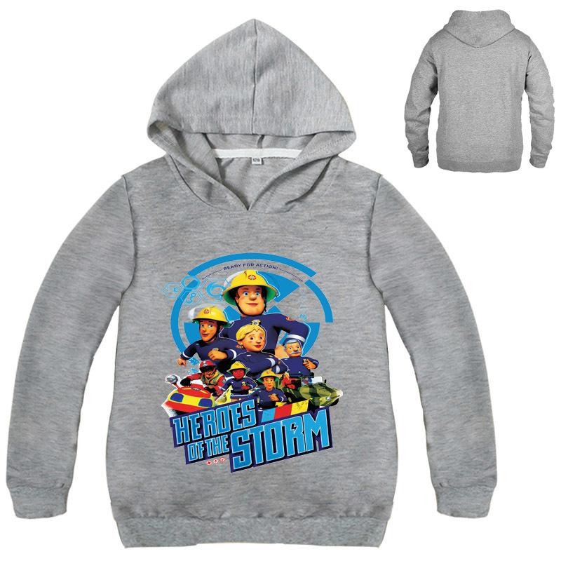 Boys Girls Kids  Fireman Sam Cartoon Long Sleeve T-shirt Spring Fall Costumes