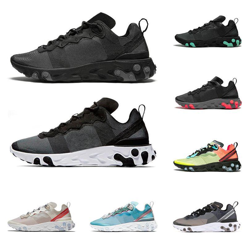 08a52b4e58 2019 React Element 55 87 Men Women Running Shoes Triple Black Royal ...