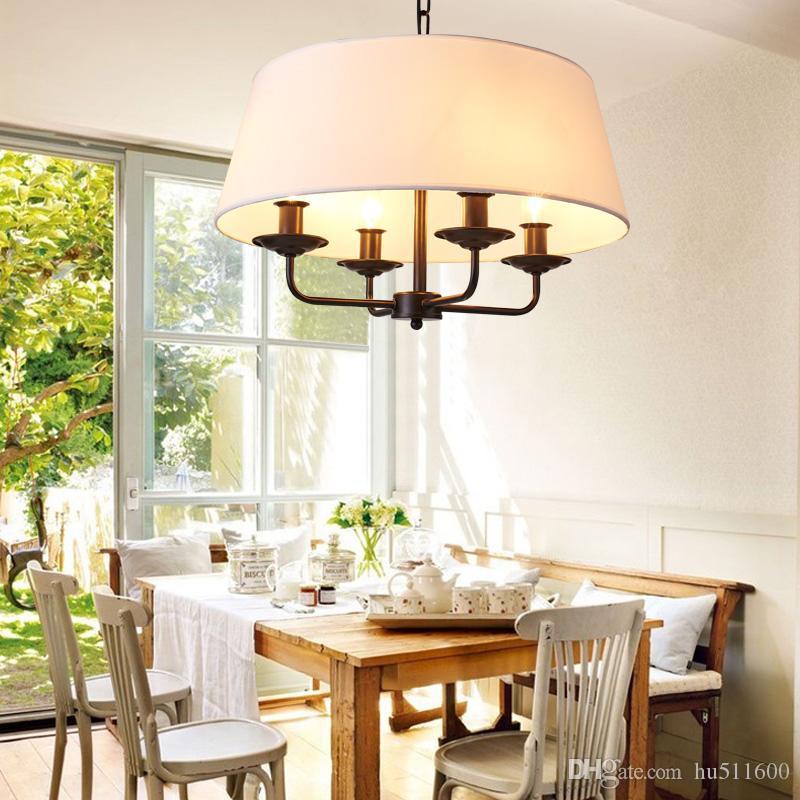 Ordinaire Painted Led Kronleuchter LED American Style Pendelleuchte 4 Lampe Arme  Stoffschirm Deckenleuchte Für Wohnzimmer Schlafzimmer