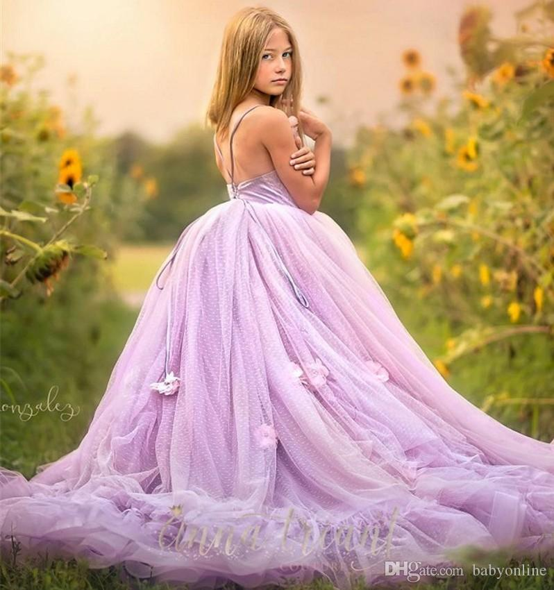 5cb2209683 Fairy Lilac Lavender Cute Girls Toddler Pageant Dresses Spaghetti Straps  Lace-up Back Designed Flowers Pearls Tulle Long Flower Girl Dress