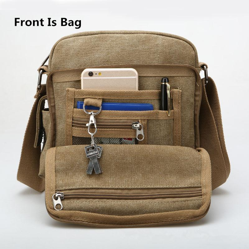 1af688701e Back And Front Side Pockets Men Messenger Bags Canvas Vintage Bag Men  Shoulder Crossbody Bags Small Bag Designer Handbags Bolso Leather Satchel  Ladies Bags ...