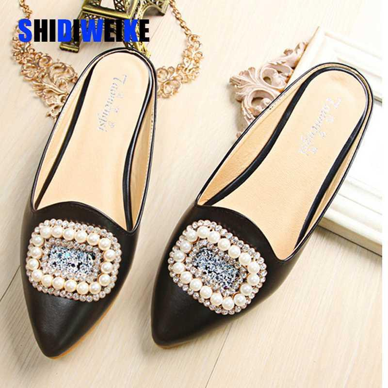 comfort big size 43 pearl decorate slides woman pregnant shoes fashion crystal mules shoes woman closed toe rhinestone flip flop