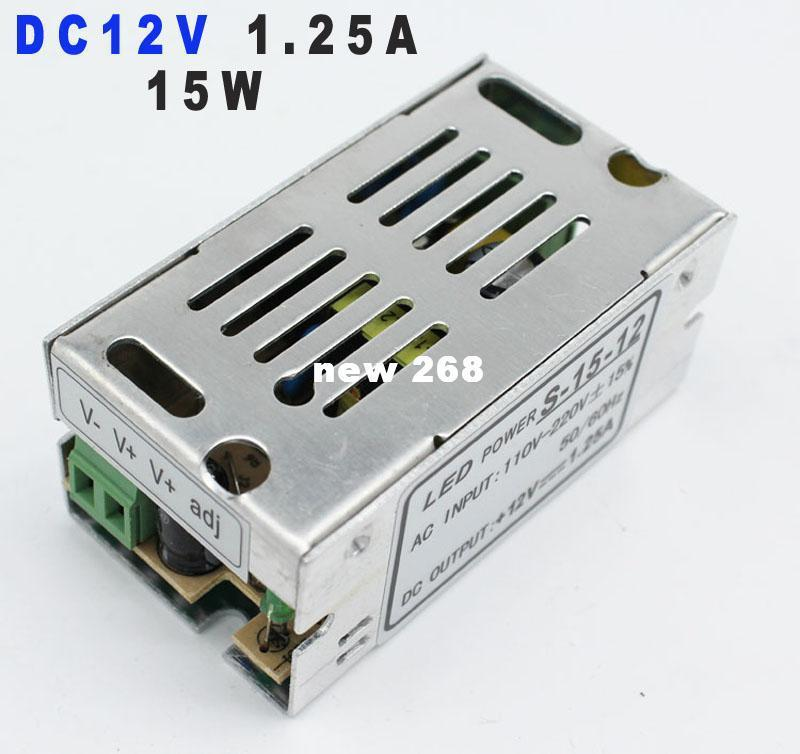 Freeshipping 12V DC15W Switch Power Supply 1 25A LED Driver Adapter  Transformer 220v 110v AC to dc SMPS For LED Strip BULB Light
