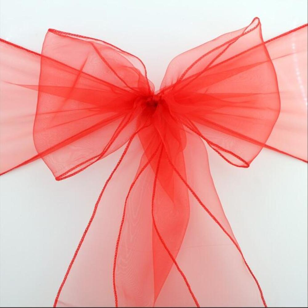50 pcs/lot Wedding Organza Chair Cover Sashes Sash Party Banquet Decor Bow Colours