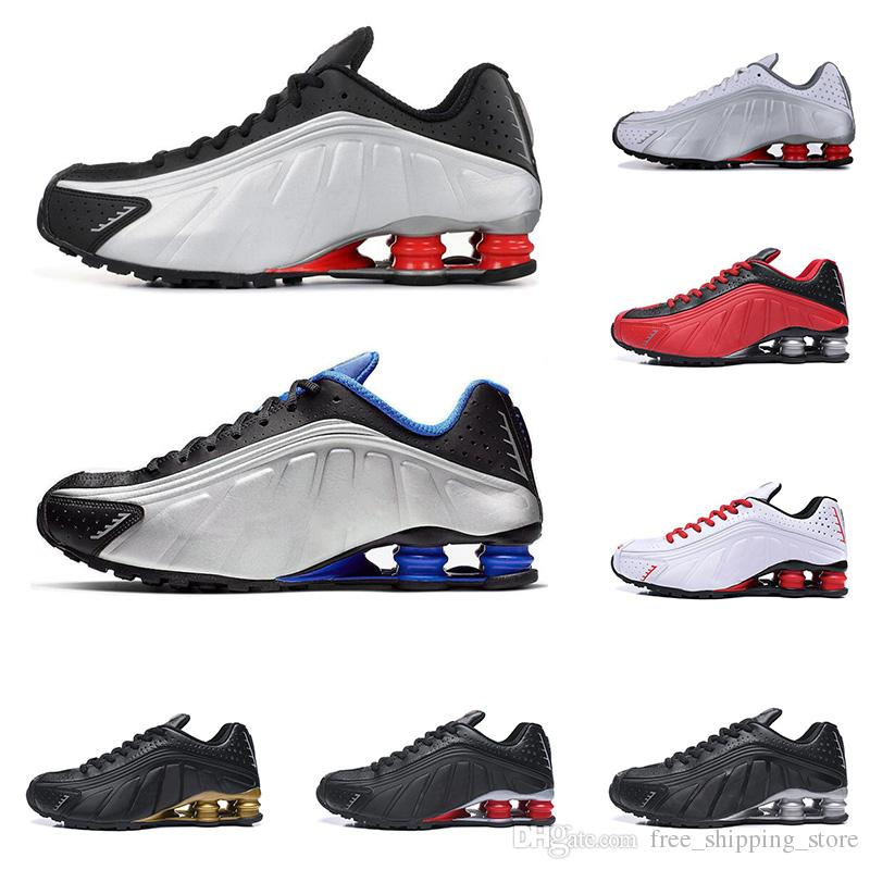b6fadfcf 2019 Shox R4 men women running shoes top quality OG triple black white  RACER BLUE COMET RED mens trainers fashion sports sneakers
