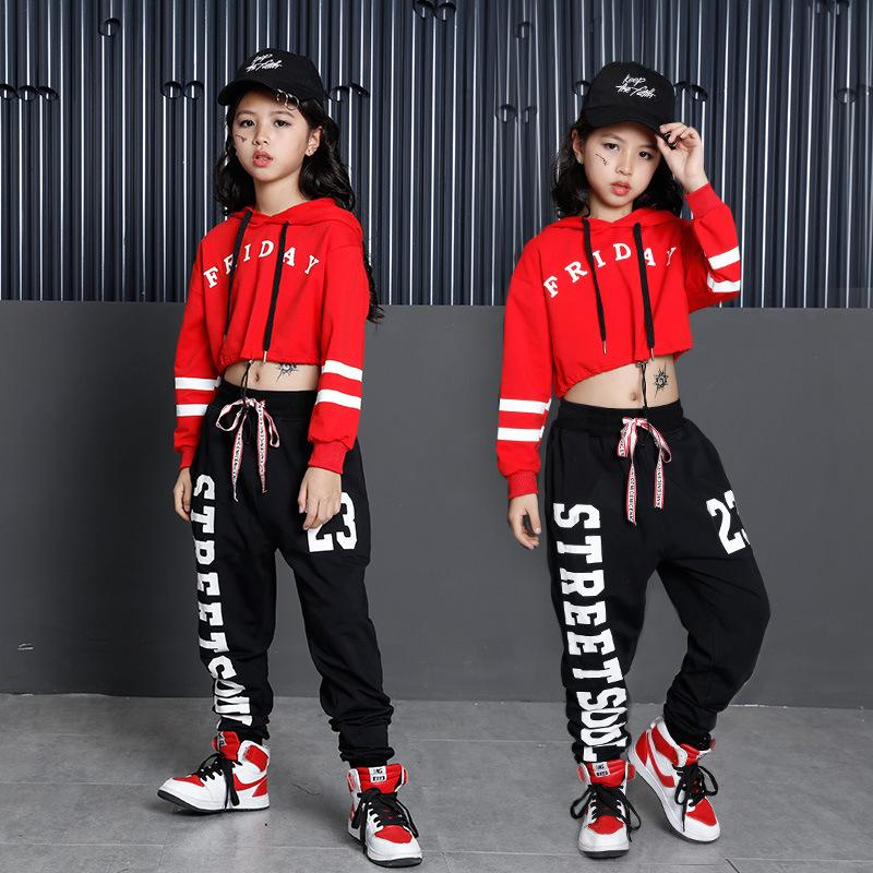 3e040ab376a2 2019 Letter Girls Black Pants And Red Cropped Hoodie Set Girls Dance  Costumes For Competition Kids Streetwear From Anglestore, $16.08    DHgate.Com