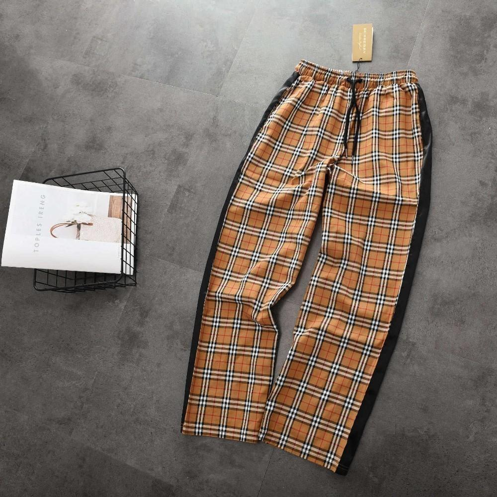 Women's wide-leg pants Spring and summer new elastic waist with colorblock plaid wide-leg pants