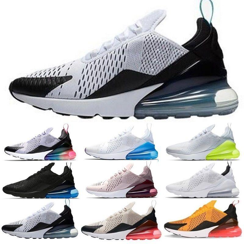 site réputé e5890 2a273 Nike Air Max 270 Nouveautés 2018 Champion de France 27C Hommes Chaussures  Noir Blanc Coussin Triple baskets de designers pour hommes