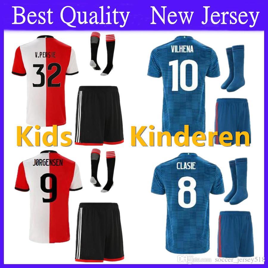 Kids Kit 18 19 Feyenoord Children Soccer Jersey V.PERSIE 2018 2019  LARSSON VILHENA Sets Football Shirts UK 2019 From Soccer jersey518 d08e29b38