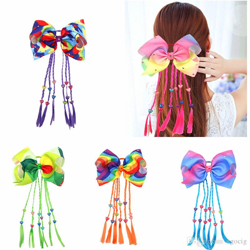 Rainbow jojo Bows Hair Rrope Girls 9 Colors Hair bows for Children Trendy Kids Hair Accessories braid Twist ring Birthday Party Hairbands