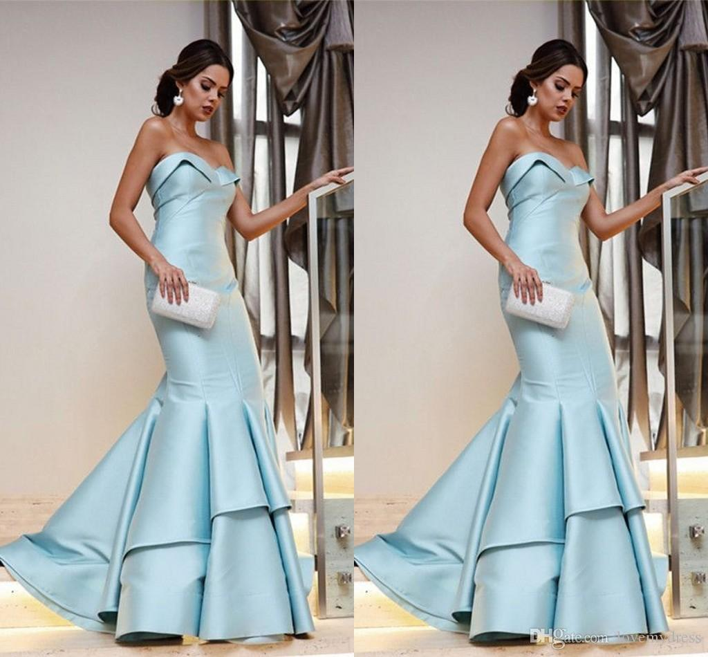 760669aaa593 2019 Light Blue Ruffle Prom Dresses Evening Gowns 2019 Mermaid Style  Strapless Open Back Prom Dress Formal Gowns Dresses Evening Wear  Consignment Prom ...