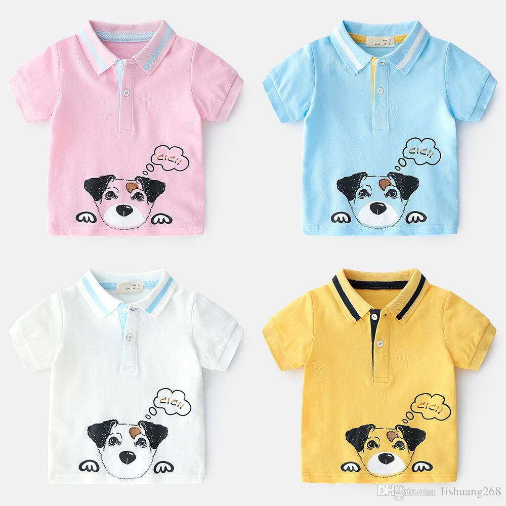 2019 New Summer Classic lapel Enfant Boys T-shirt Printed cartoon dog Children Cotton polo Shirt Tops Kids Baby Short Sleeve T-Shirt