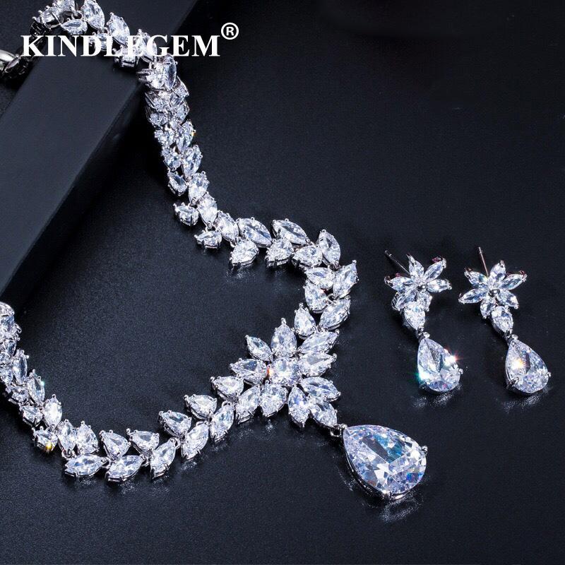a65869ed281 Kindlegem Luxury Bling Bling Zircon Jewelry Set Fashion Earrings Necklace  European Dubai Bride Engagement Anniversary Bijoux