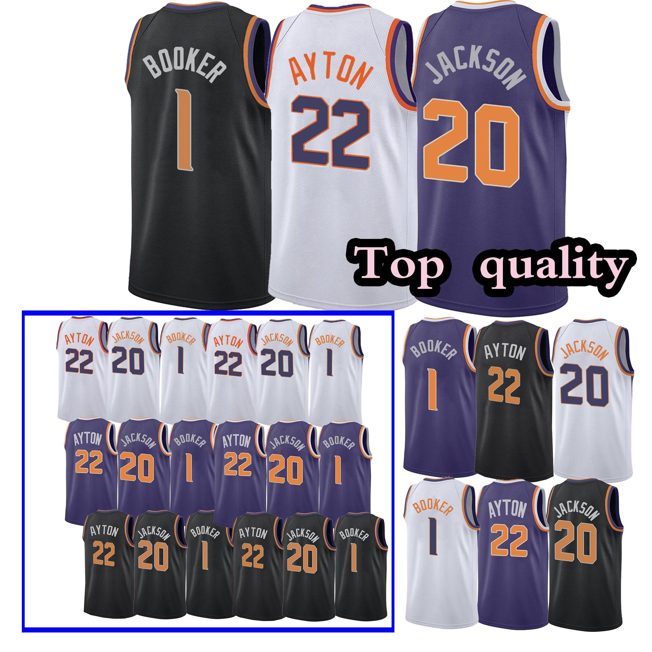 best service 526af 3309e Phoenix Jerseys Suns Devin 1 Booker Josh 20Jackson DeAndre 22 Ayton youth  Adult Embroidery Logos