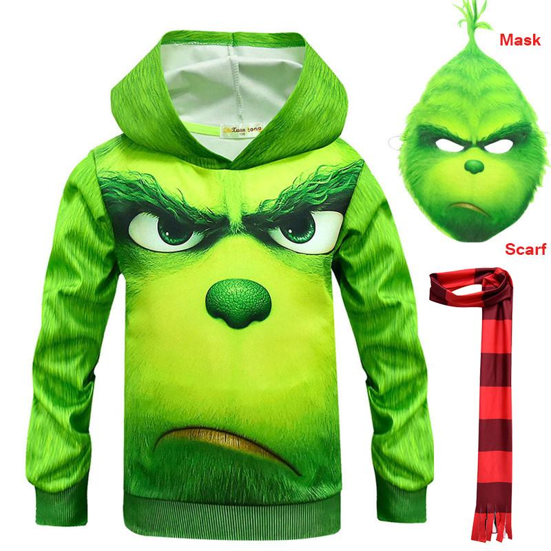 2019 Movie How Grinch Stole The Christmas Mask Winter Warm Scarf The