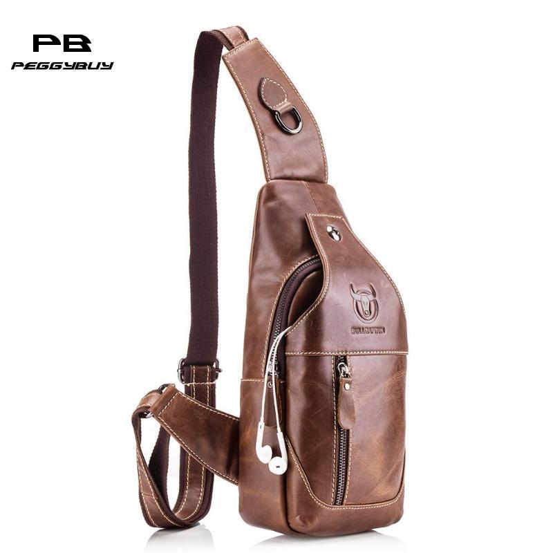 c2088f695405 Bull Captain Shoulder Bags Vintage Men Genuine Leather luxury waist bag for  man banana Crossbody Bag sac a main femme fanny pack